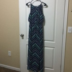 Maurice's x-small navy and green maxi dress